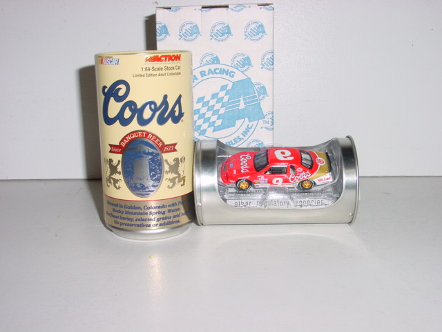 "1985 Bill Elliott 1/64 Coors ""Winston Million"" car in can on clear base"