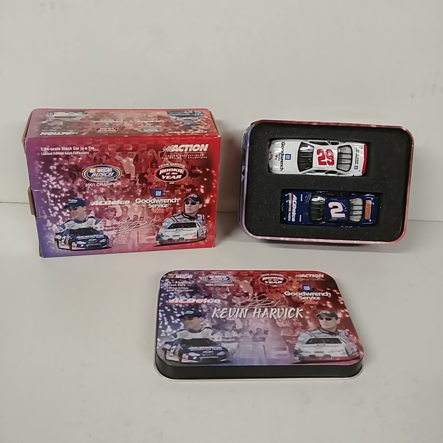 """2001 Kevin Harvick 1/64th """"Busch Champion"""" """"Winston Cup Rookie of the Year"""" 2 car set in tin"""