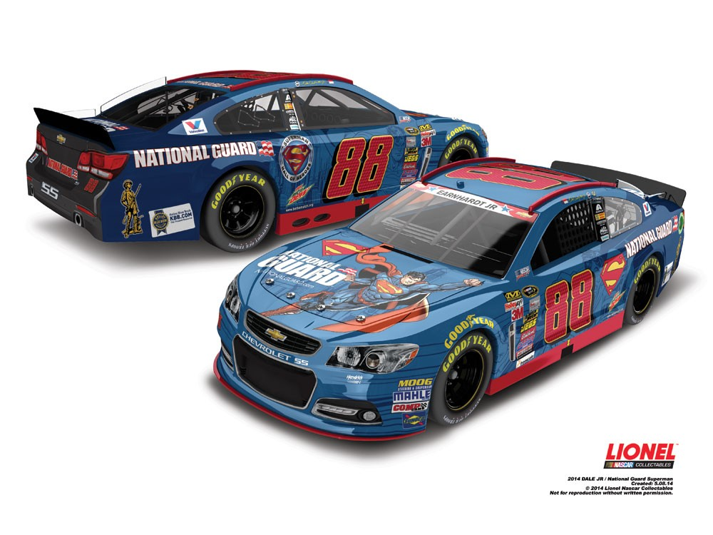 "2014 Dale Earnhardt Jr 1/64th National Guard ""Superman"" Pitstop Series car"