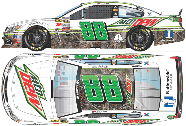 "2016 Dale Earnhardt Jr 1/24th Mountain Dew ""Camo"" car driven by Alex Bowman"