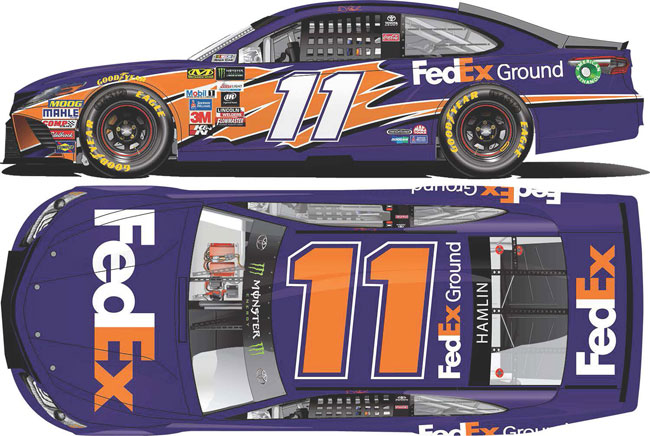 2017 Denny Hamlin 1/64th Fed Ex Ground Pitstop Series car