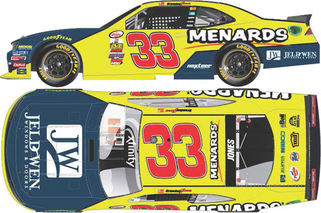 "2017 Brandon Jones 1/64th Menards/Jeld-Wen ""Xfinity Series"" Pitstop Series car"