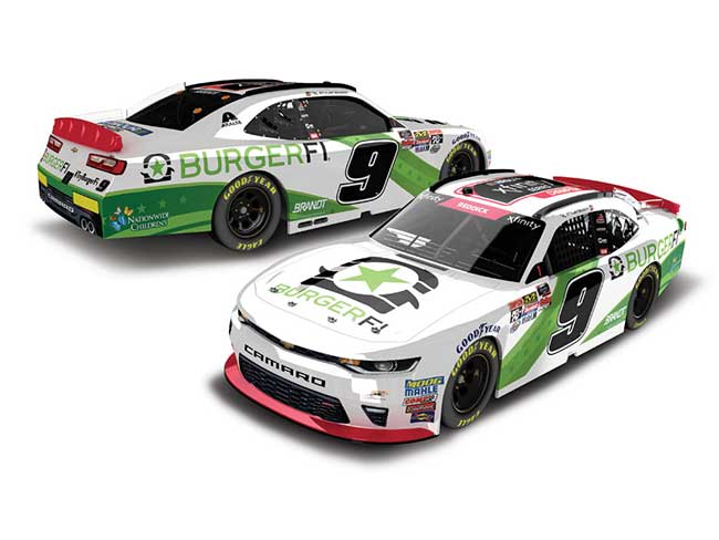 "2018 Tyler Reddick 1/24th BurgerFi ""Xfinity Champion"" hood open car"