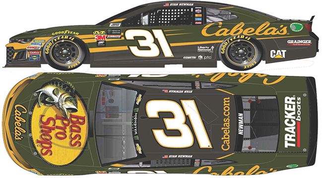 2018 Ryan Newman 1/64th Bass Pro Shops/Cabela's car