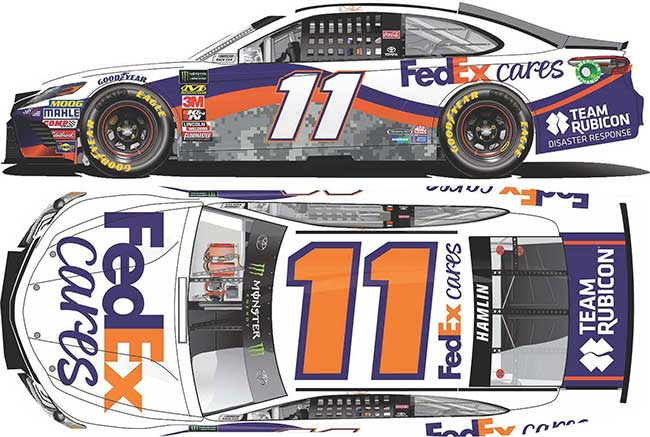 "2018 Denny Hamlin 1/64th Fed Ex ""Cares"" car"