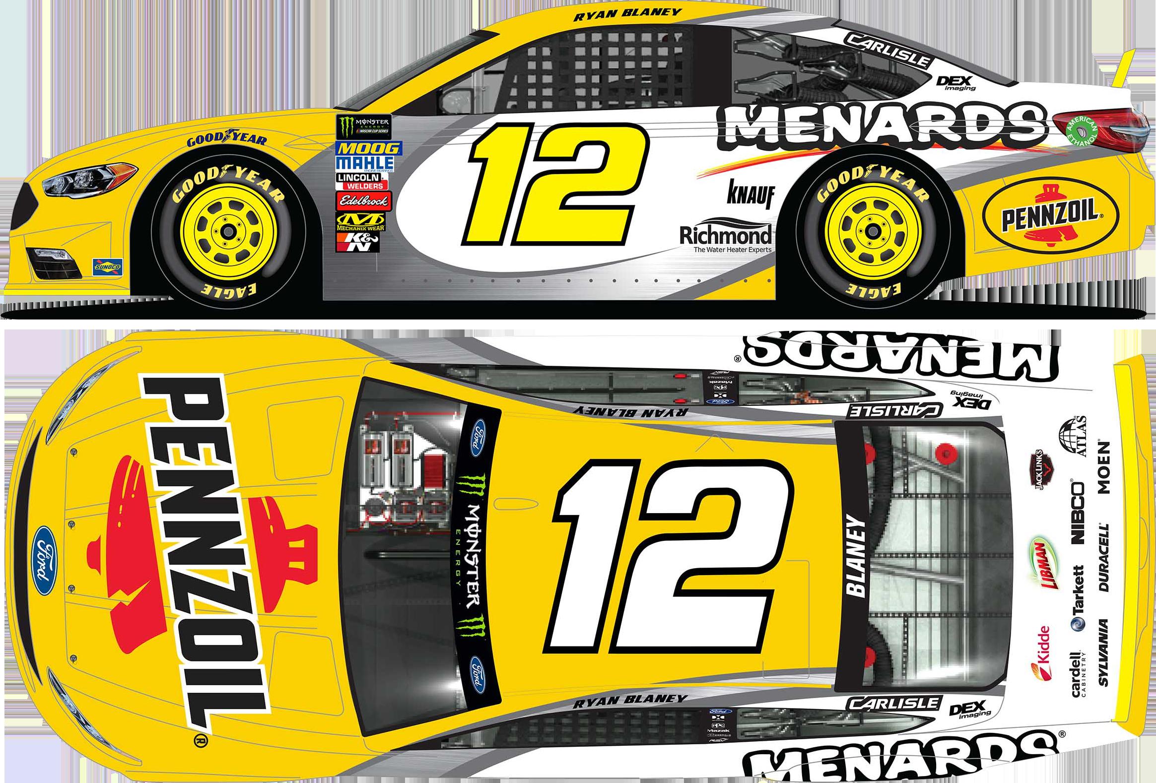 2018 Ryan Blaney 1/24th Pennzoil/Menards Elite car