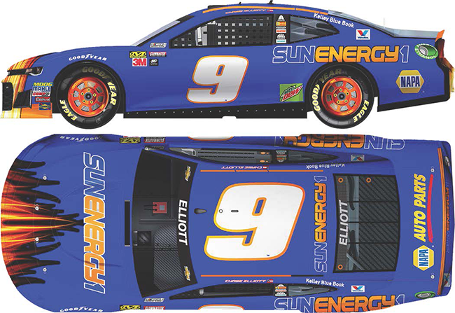 2018 Chase Elliott 1/24th SunEnergy1BLUE Elite car