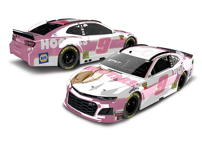 """2019 Chase Elliott 1/24th Hooters """"Give A Hoot"""" hood open car"""