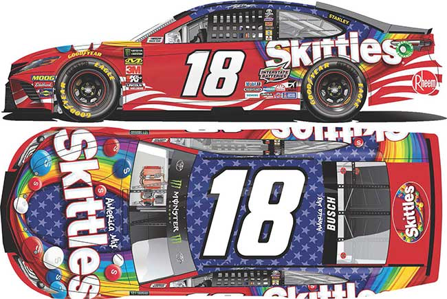 """2019 Kyle Busch 1/64th Skittles """"Red White and Blue"""" car"""