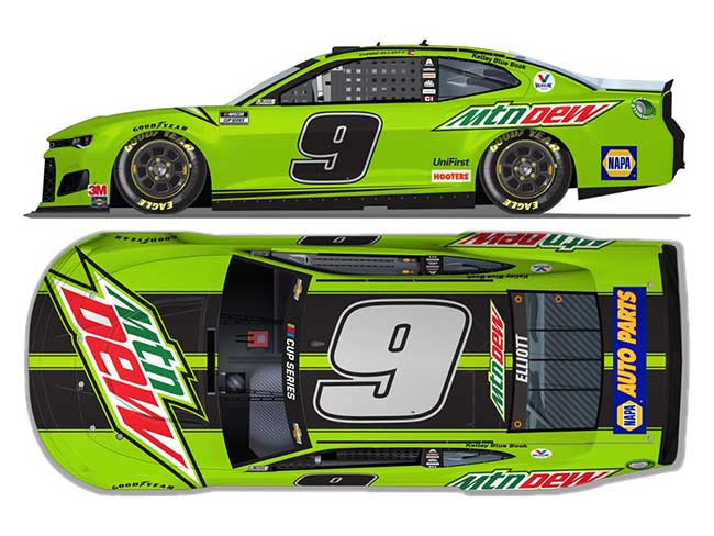 2020 Chase Elliott 1/24th Mountain Dew hood open car