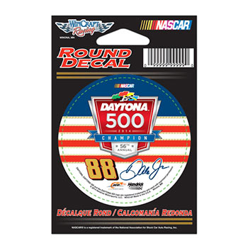 "2014 Dale Earnhardt Jr National Guard ""Daytona 500 Win"" 3"" round decal"