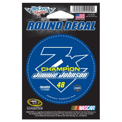 "2016 Jimmie Johnson Lowe's 7-Time Champion 3"" round decal"