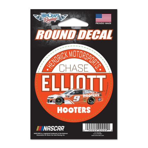 """2018 Chase Elliott Hooters 3"""" round decal"""