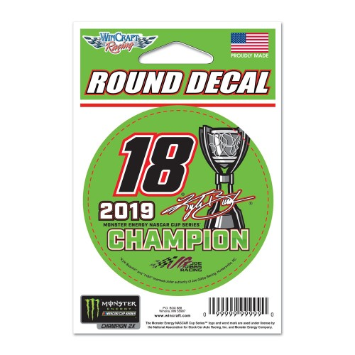 "2019 Kyle Busch Monster Energy Series Champion 3"" round decal"