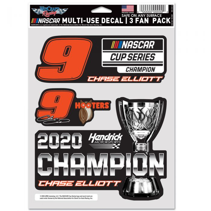 """2020 Chase Elliott Hooters """"NASCAR Cup  Champion"""" Multi Use 3 pack decals"""