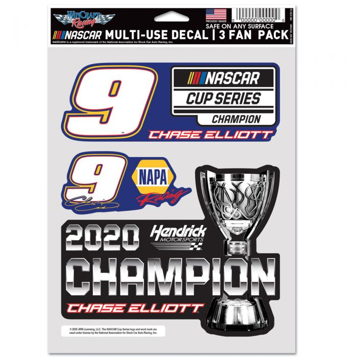 """2020 Chase Elliott NAPA """"NASCAR Cup Champion"""" Multi Use 3 pack decals"""