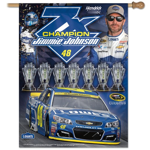 "2016 Jimmie Johnson Lowe's ""7-Time Champion"" pole flag"