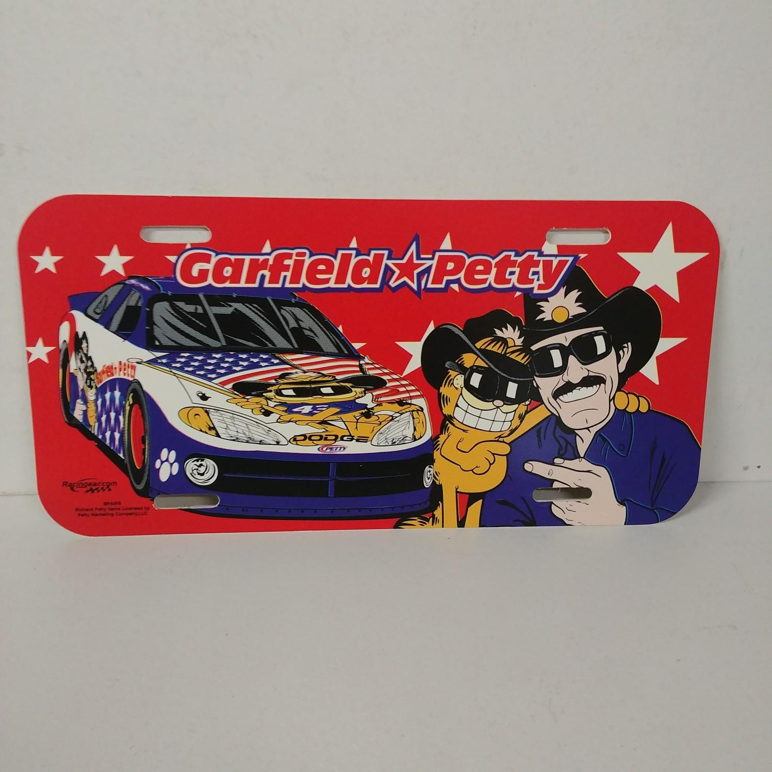 2002 Richard Petty Garfield and Petty plastic license plate