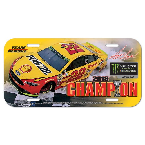 2018 Joey Logano Shell Monster Energy Champion plastic license plate