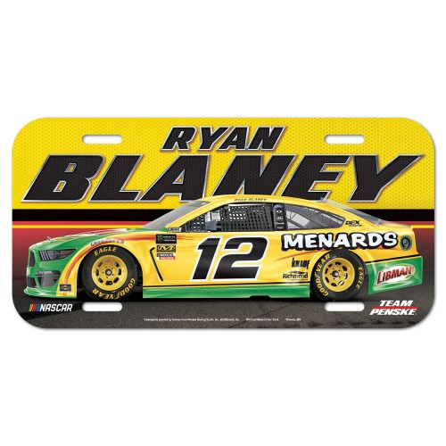 2019 Ryan Blaney Menards plastic license plate
