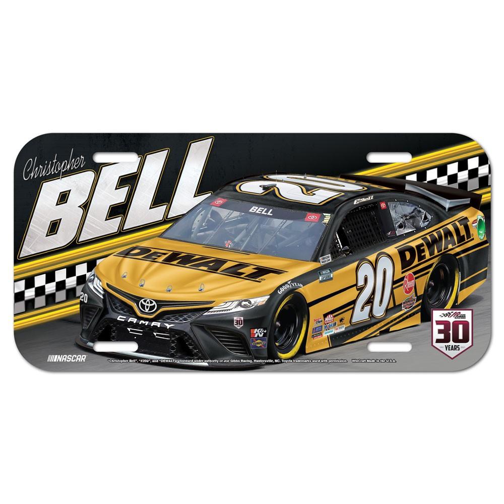 2021 Christopher Bell Dewalt plastic license plate