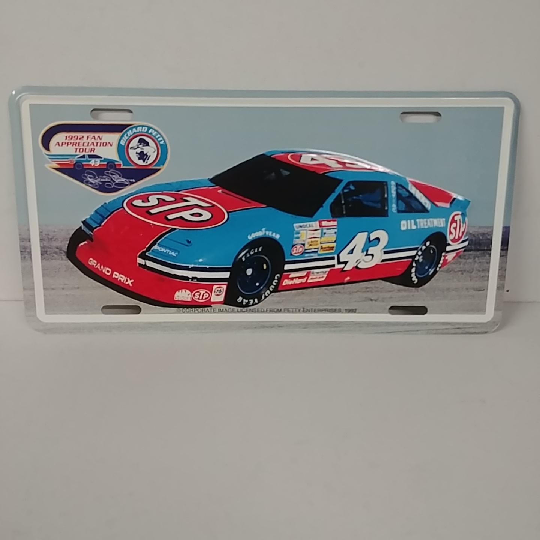 1992 Richard Petty STP Fan Appreciation Tour metal license plate