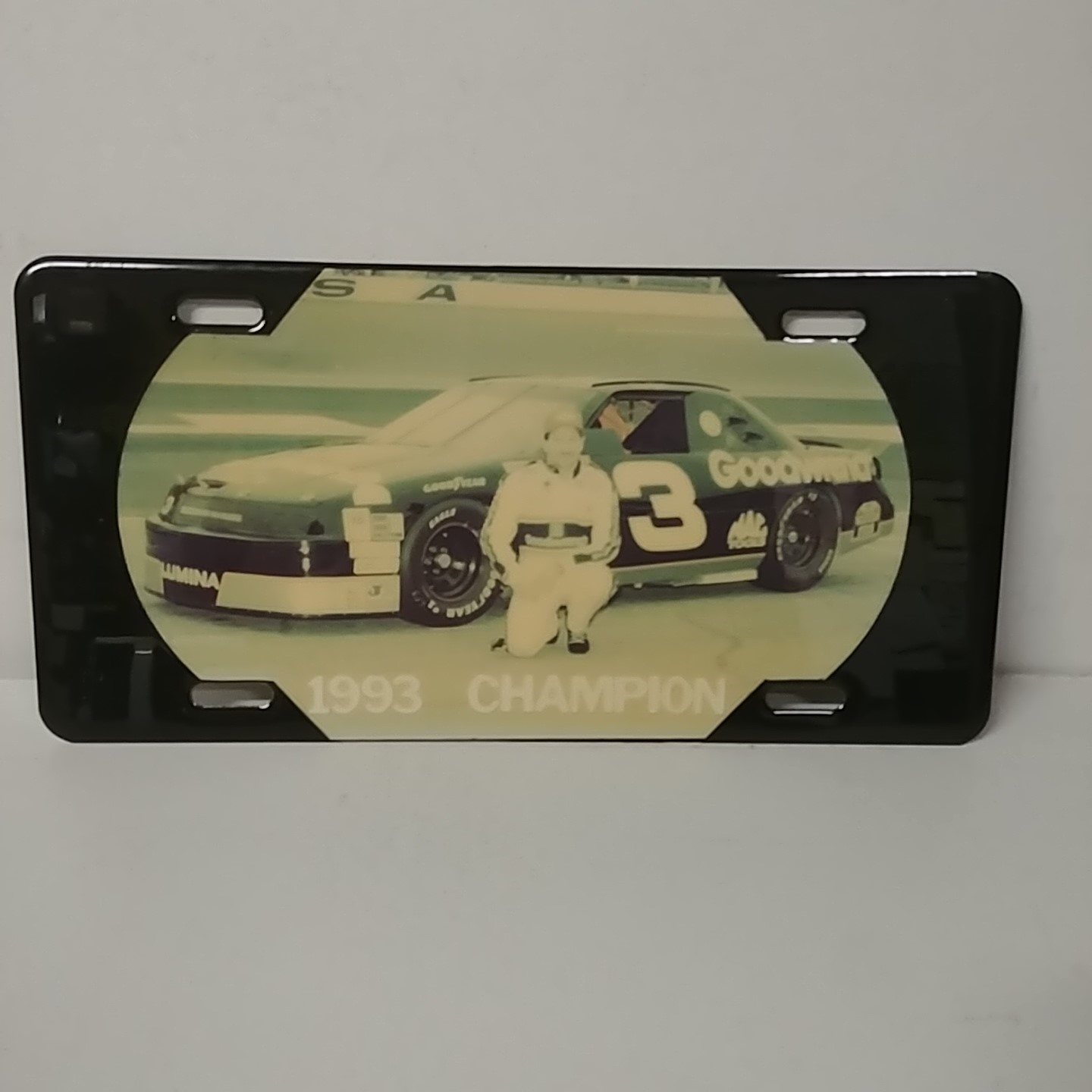 """1993 Dale Earnhardt Goodwrench """"Winston Cup Champion"""" plastic license plate"""