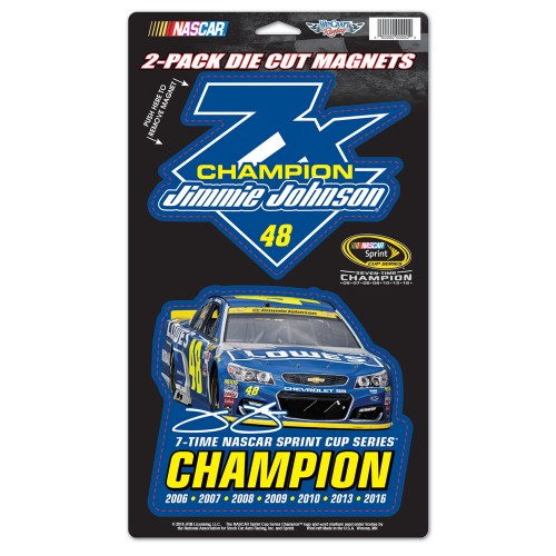 2016 Jimmie Johnson Lowe's 7-Time Champion 2-pk magnets