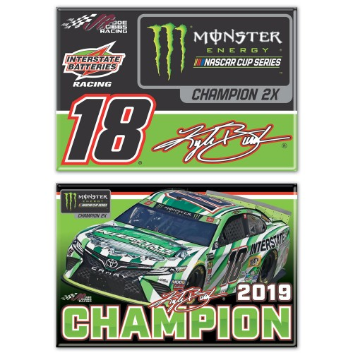 2019 Kyle Busch Monster Energy Series Champion 2 pack magnet