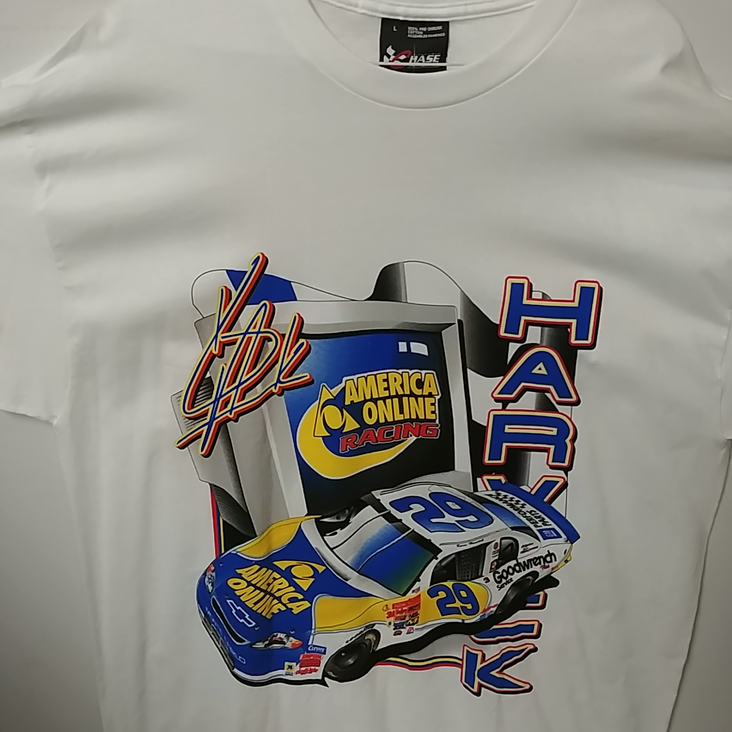 """2001 Kevin Harvick AOL """"Built For Speed"""" tee"""