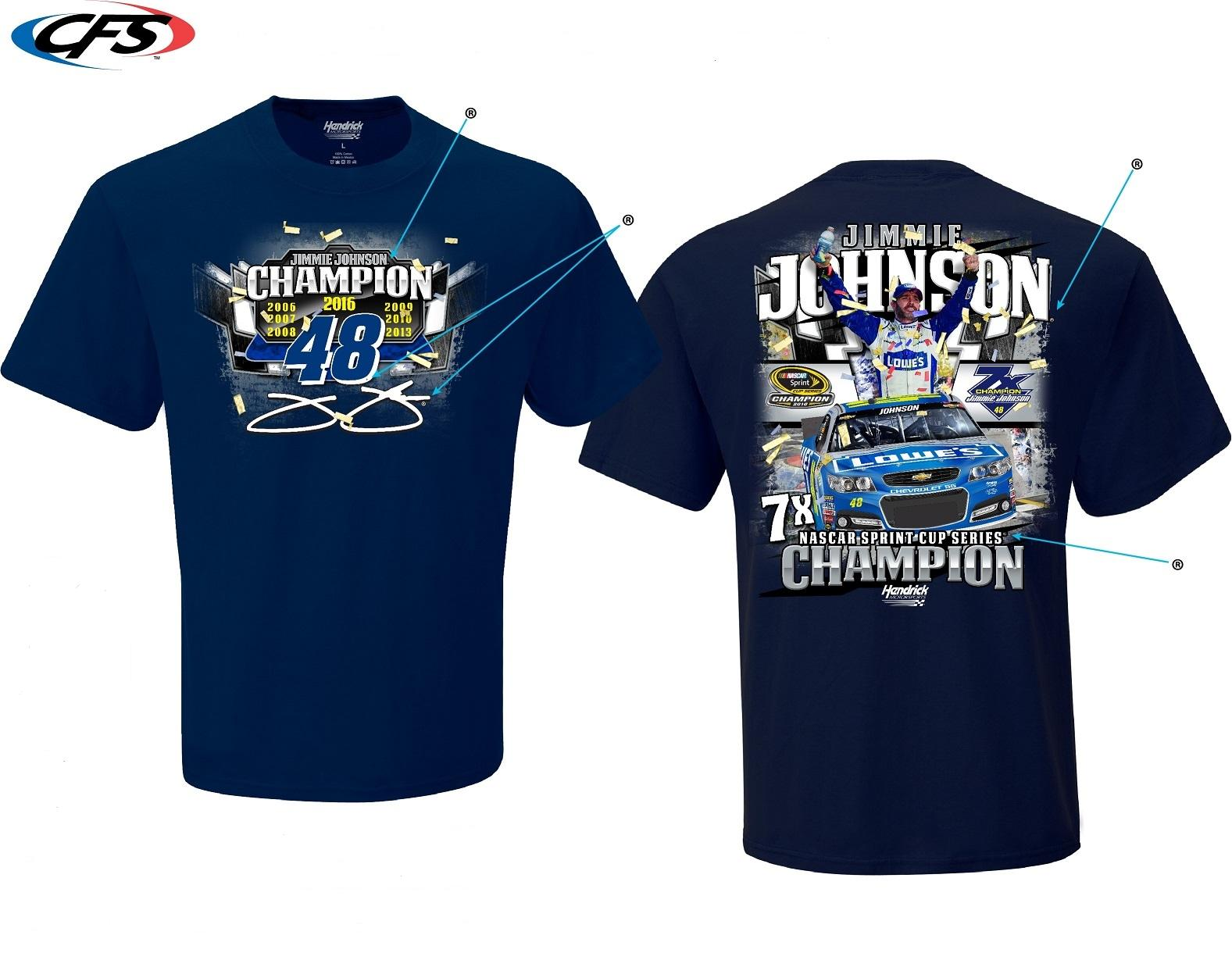 "2016 Jimmie Johnson Lowe's 7-Time Champion ""Multi Champ"" tee"