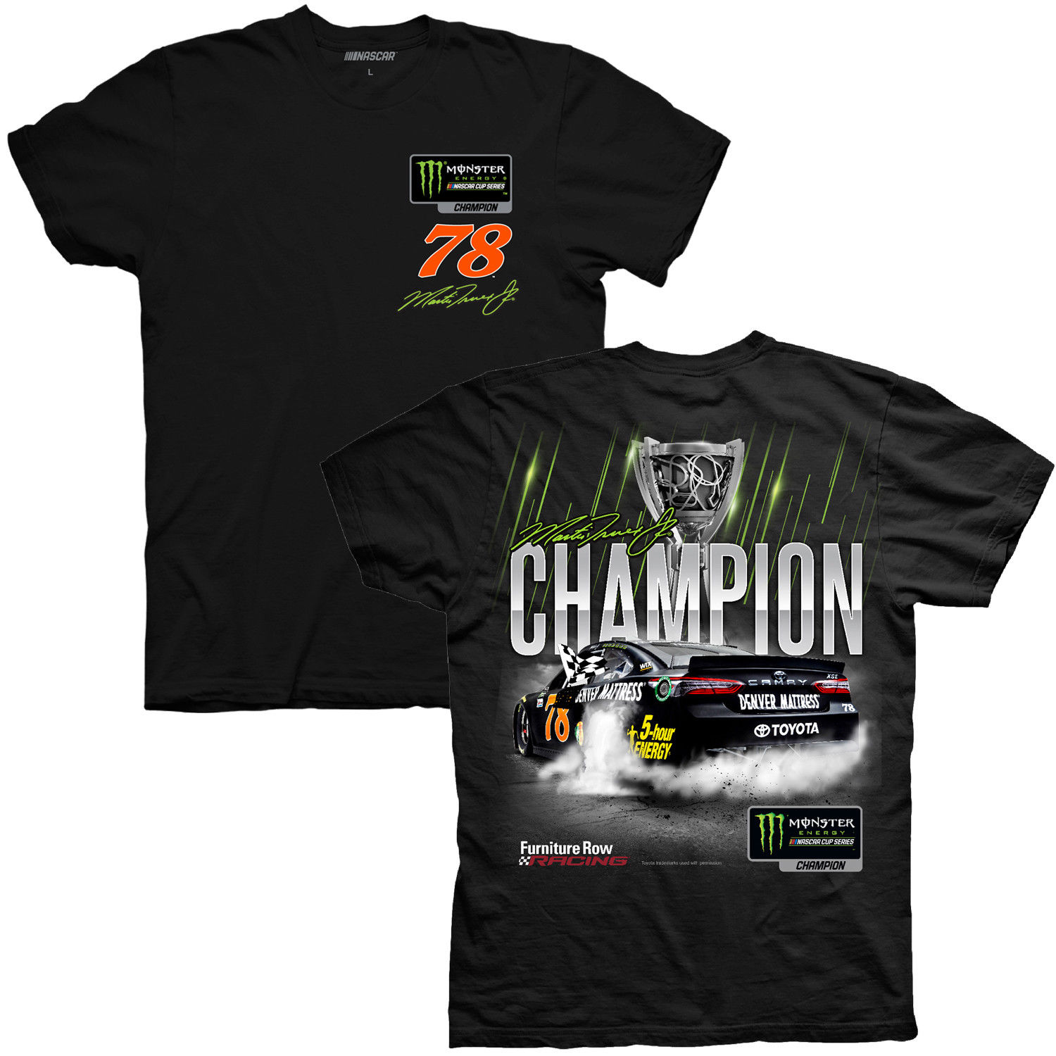 2017 Martin Truex Jr Monster Energy Champion 2 spot black tee