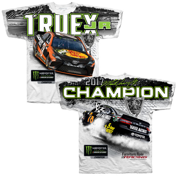 2017 Martin Truex Jr Monster Energy Champion total print white tee