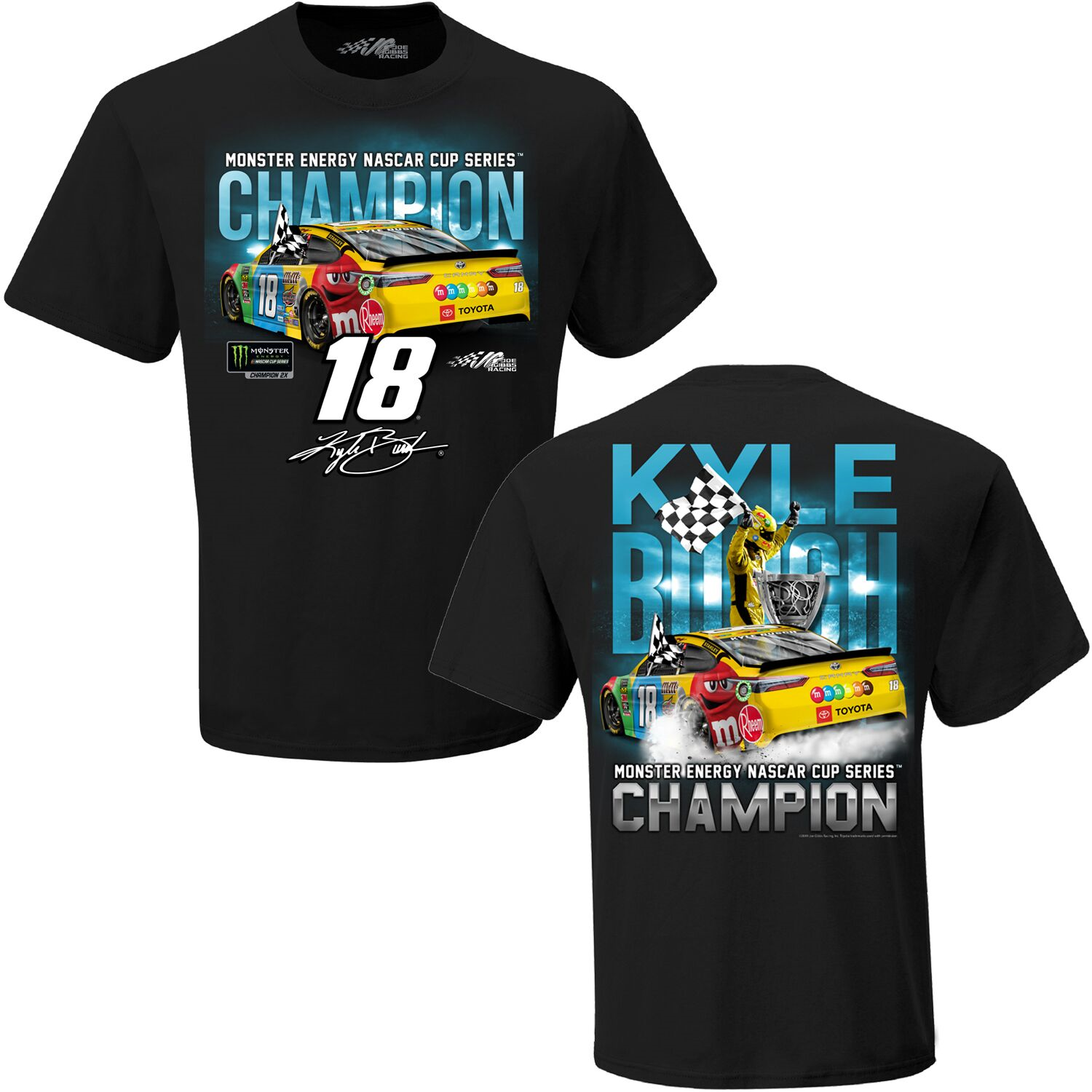 "2019 Kyle Busch M&M's ""Monster Energy 2 Time Champion"" 2 spot black tee"