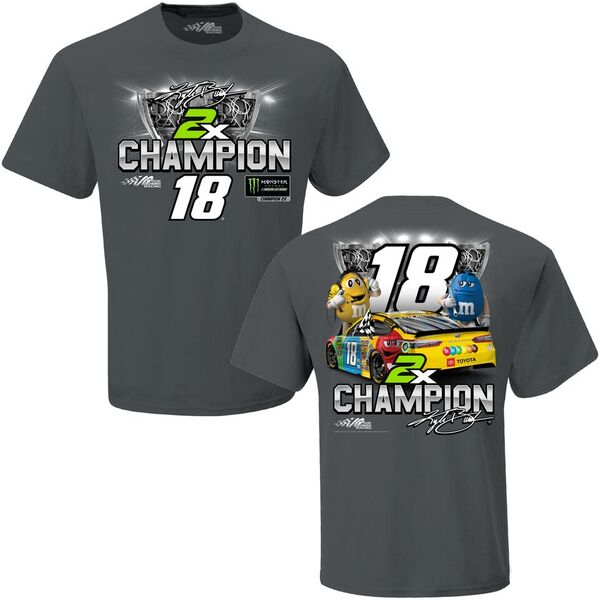 """2019 Kyle Busch M&M's """"Monster Energy 2 Time Champion"""" gray tee"""