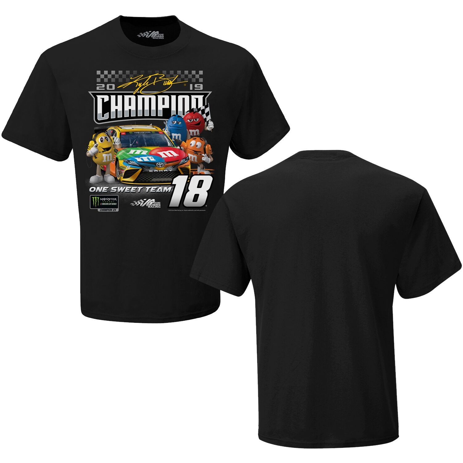 """2019 Kyle Busch M&M's """"Monster Energy Champion Character"""" black tee"""