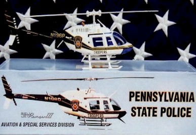 2000 Pennsylvania State Police Bell Jet Ranger III 1/43 helicopter