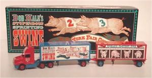 "1991 ""Bob Hales Stupendous Sprinting Swine"" York Fair diecast transporter w/double trailer"