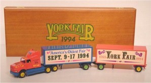 "1994 ""Americas Oldest Fair"" York Fair diecast transporter w/double trailer"