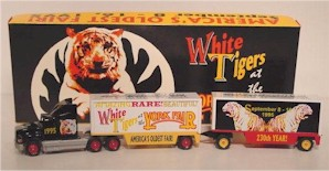 "1995 ""White Tigers at the York Fair"" diecast transporter w/double trailer"