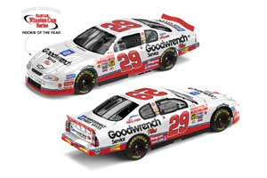"""2001 Kevin Harvick 1/24th Goodwrench """"Rookie of the Year"""" c/w car with white pearl finish"""