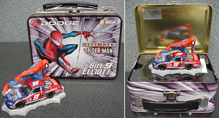 "2001 Bill Elliott 1/64 Dodge Dealers  ""Spiderman"" car w/lunch box"