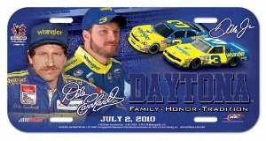 2010 Dale Earnhardt Sr/Jr Wrangler plastic license plate by Wincraft