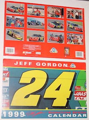1999 Jeff Gordon Dupont 11 x 16 1/2 calendar