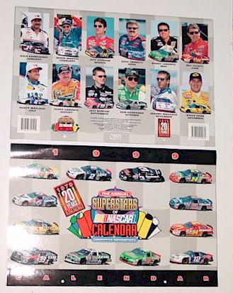 1999 NASCAR Super Stars 11 X 161/2 calendar